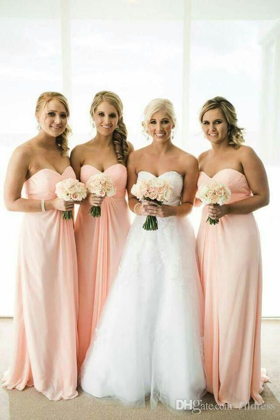 Peach Bridesmaid Dresses Long Sweetheart Ruched Chiffon Light Pink Formal 2016 A Line Pleated Wedding Party Gowns