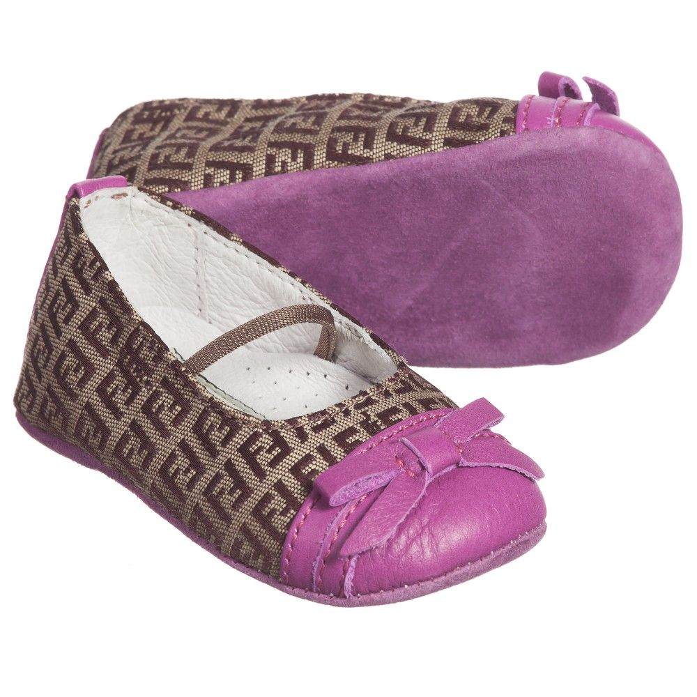 8dc9a38b975c Fendi Baby Girls Brown  FF  Pre-Walkers with Pink Toe at Childrensalon.com