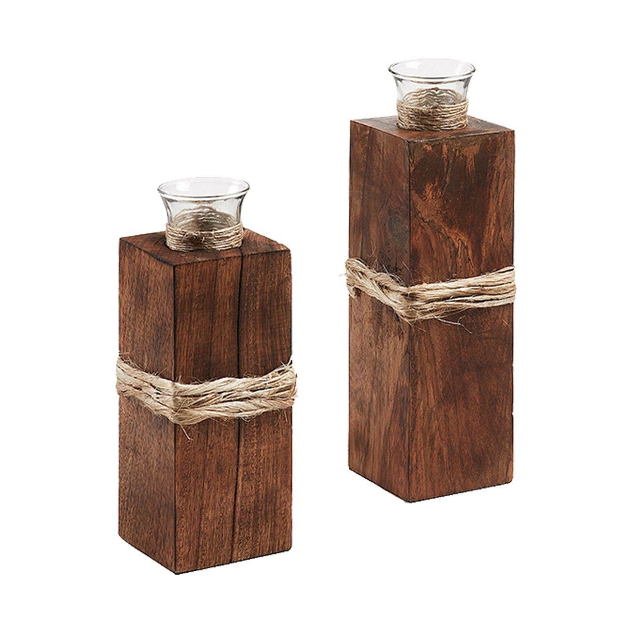 CasaJame Juego de 2 candelabros de madera de teca 6 x 8 cm