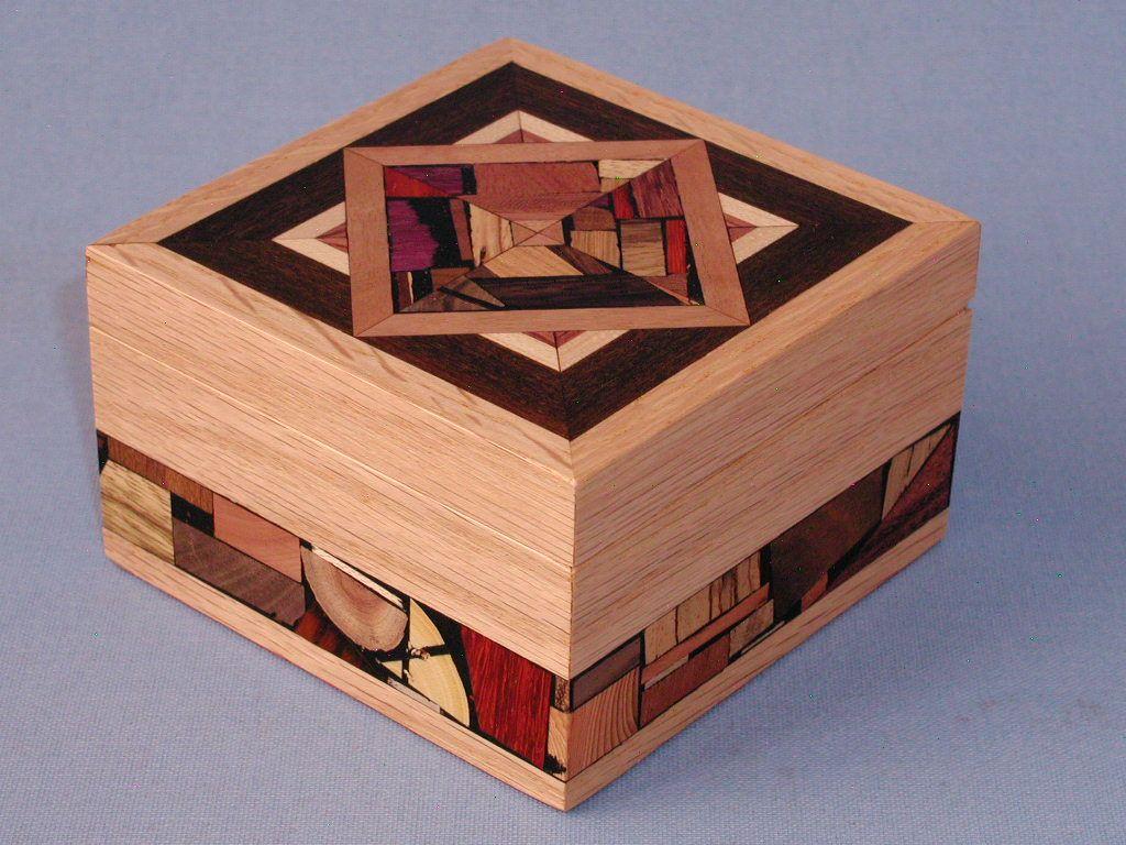 Decorative Deep Wooden Tea Box Wood & Wood Mosaics
