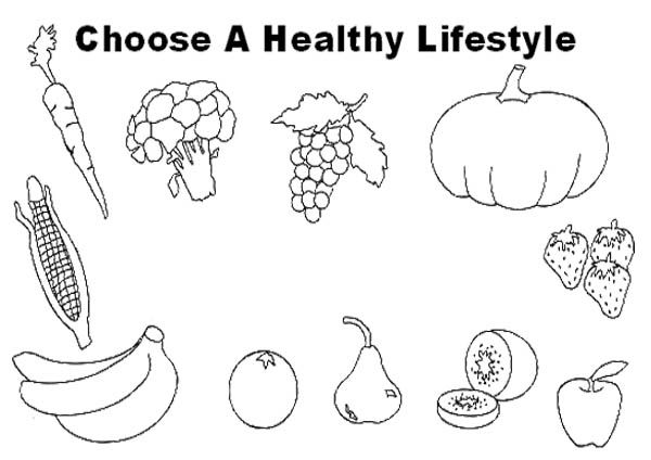 Healthy food colouring pages free coloring page for Healthy food coloring pages printable