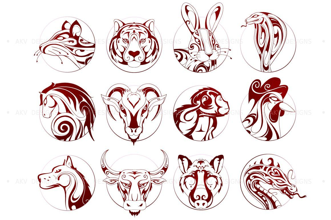 Chinese zodiac animal signs by AKV Designs on