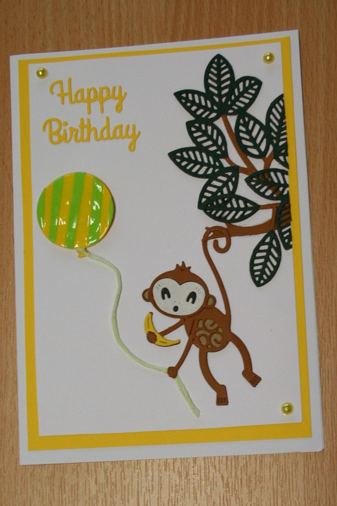 Handmade birthday card tattered lace monkey kids cards