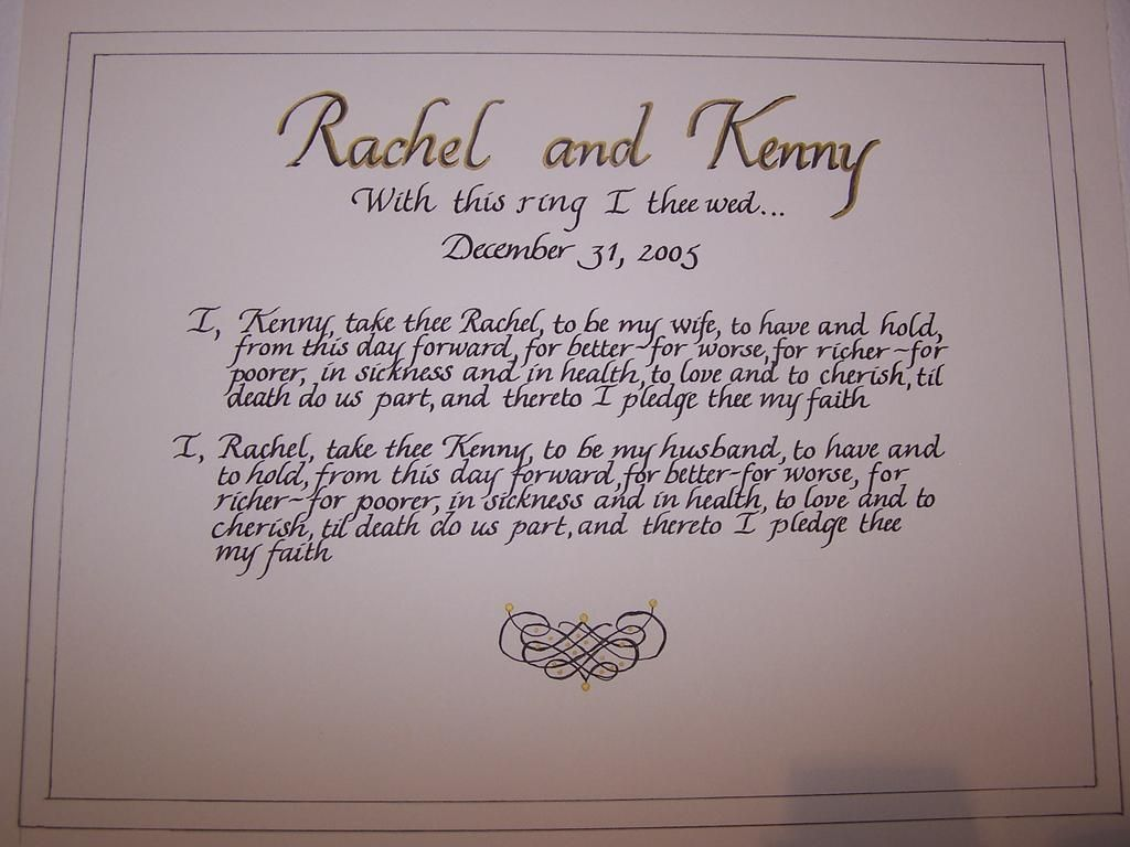 Wedding Vows Custom Made Gold Accents Calligraphy Rachel