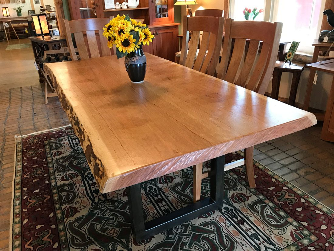 Live Edge Cherry Dining Table Is All About Texture 2 Thick Slabs