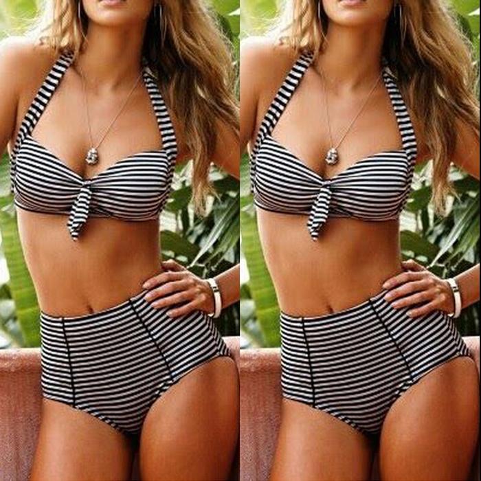 7.99$  Buy here - http://aliqsa.shopchina.info/go.php?t=32767045114 - 2017 Sexy Push Up Beach Bandage Women Retro Stripe Swimwear Brazilian Swimsuit Beachwear Bikini Set High Waist Maillot de bain  #buyininternet