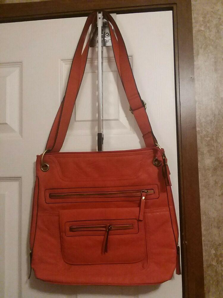 Details About Bueno Handbag Orange Multi Pockets In 2020 Leather