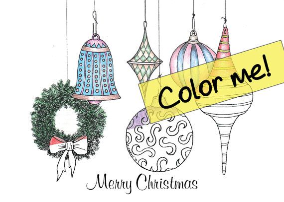 customizable christmas ornaments 2 holiday greeting card to color instant download - Coloring Christmas Cards 2
