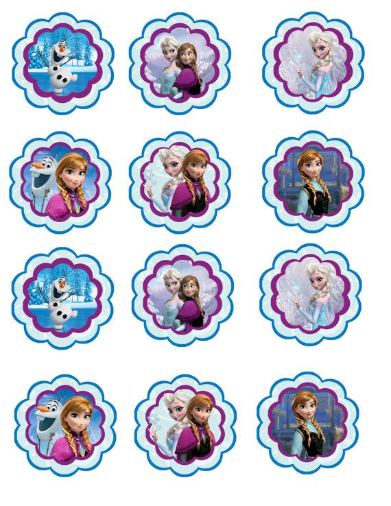 Instant download Frozen birthday cupcake toppers printable DYI jpg