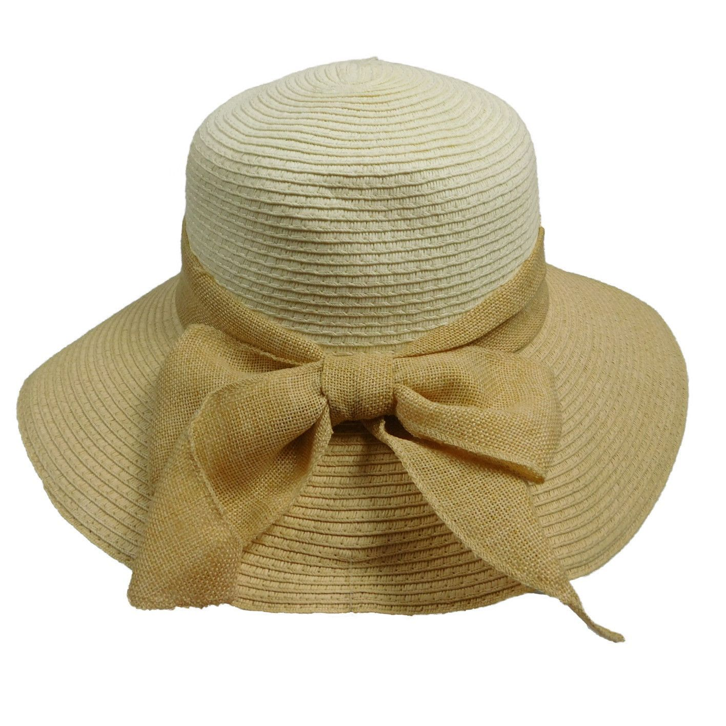 5c7e89699f5a7 Two Tone Sun Hat with Linen Bow