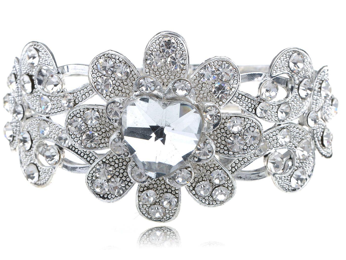 Fashion women silver bridal flower heart love crystal rhinestone