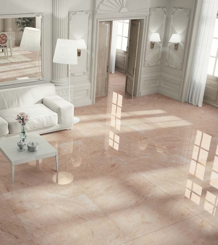 Latest Interiors Porcelain Skin: Romantic Style Living Room With Shinny #flooring Thanks To
