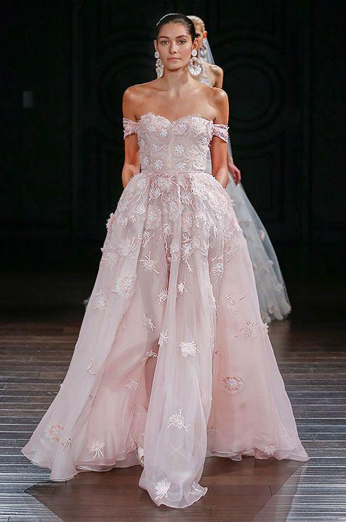Blush pink off-the-shoulder wedding dress. See photos of Naeem Khan s Spring e5c8bf65ceac