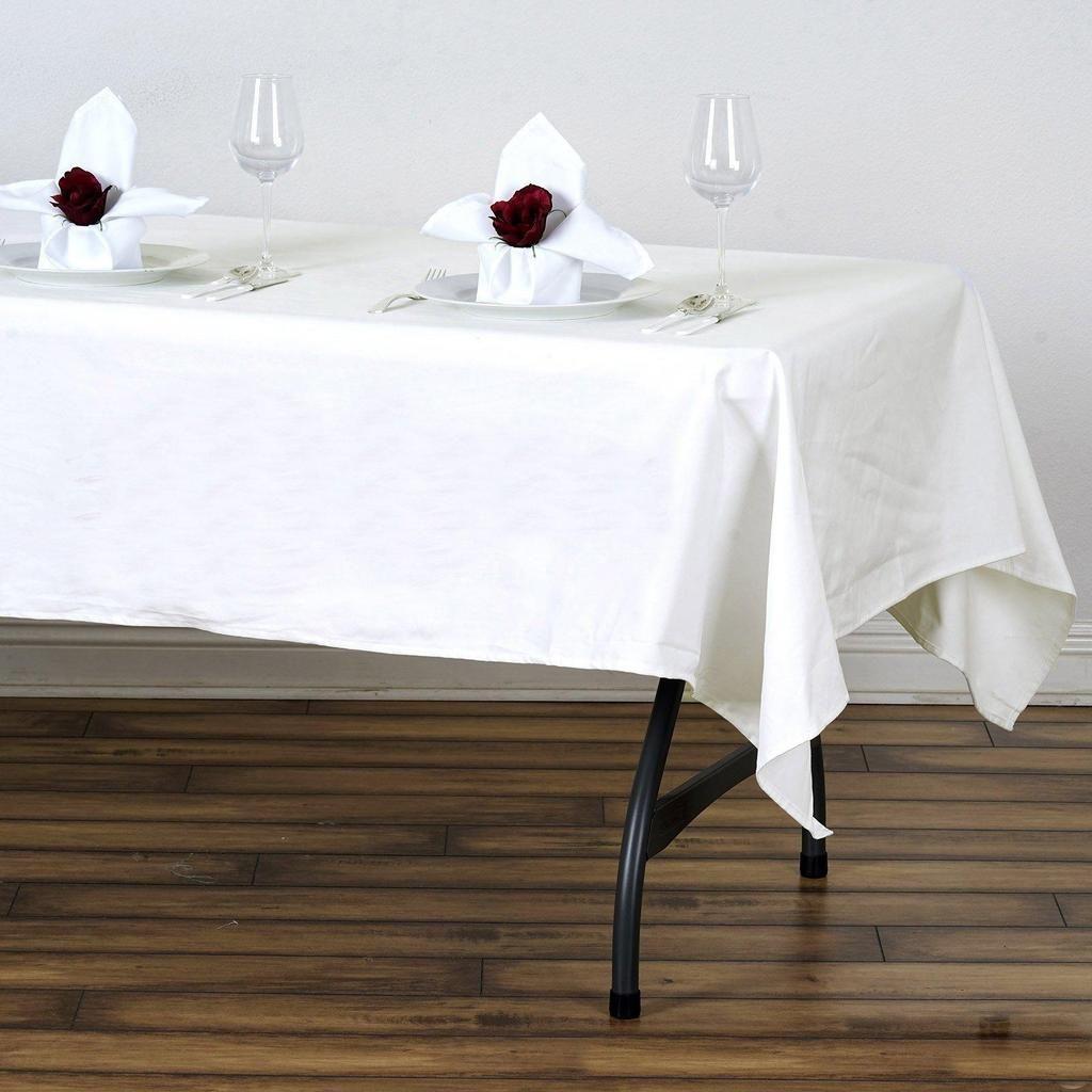 60x102 Ivory Rectangle Chambury Casa 100 Cotton Tablecloth Table Cloth Table Linens Cotton Tablecloths