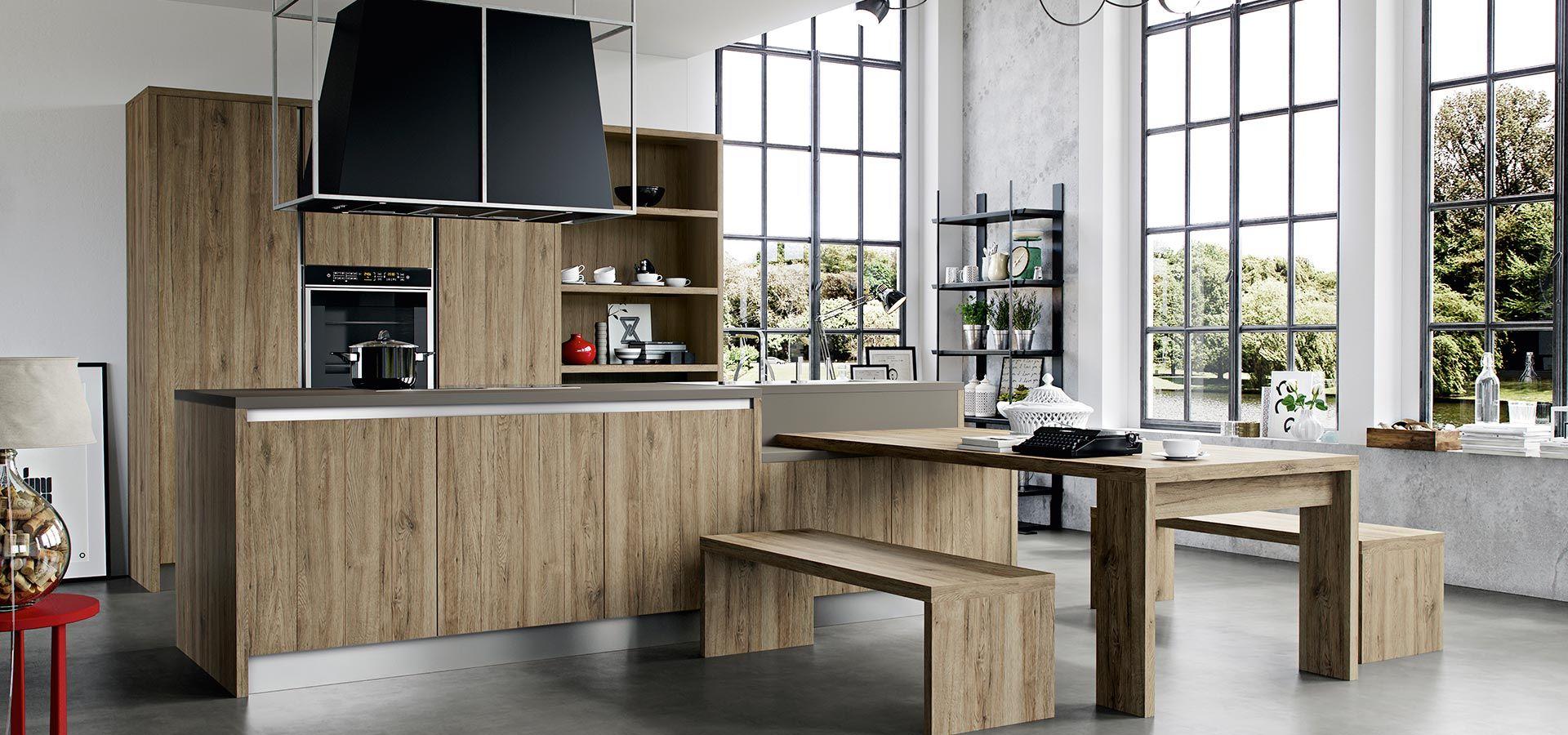 cucina moderna kal finitura rovere nordico piano in laminato fenix grigio londra maniglia