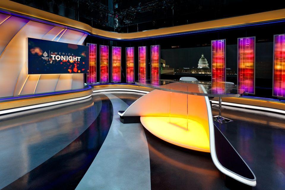 America Tonight NewscastStudio Дизайн, Студия, Декорации