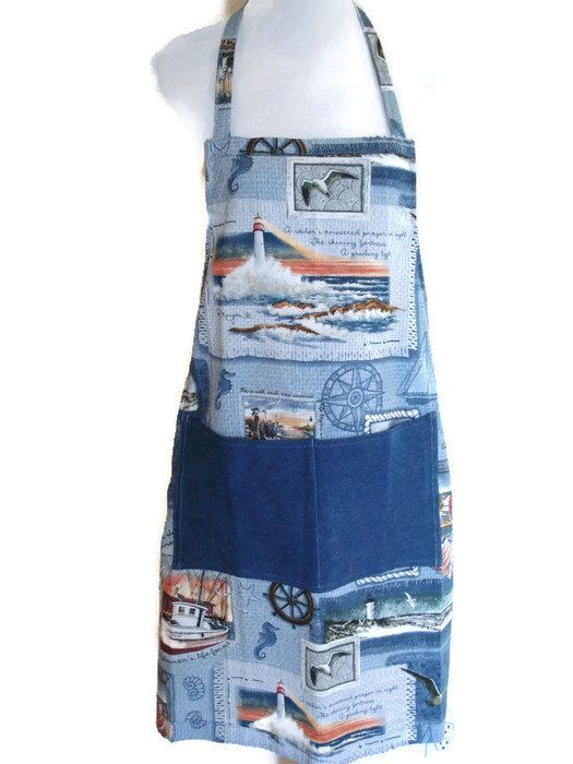 Dad's Apron Mens Nautical Apron Dads Blue Shop by GiveAMiracle