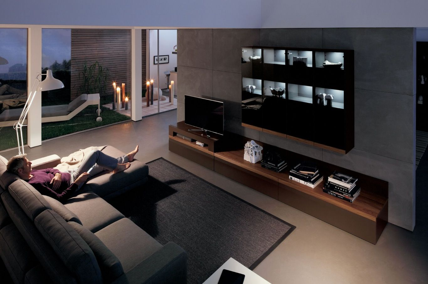 Charmant Dazzling Wood Finish Wall Units Collection From Hülsta : Impressive Wood Media  Center In Modern Living Room With Square Grey Rug And Cozy Grey Modular  Sofa ...