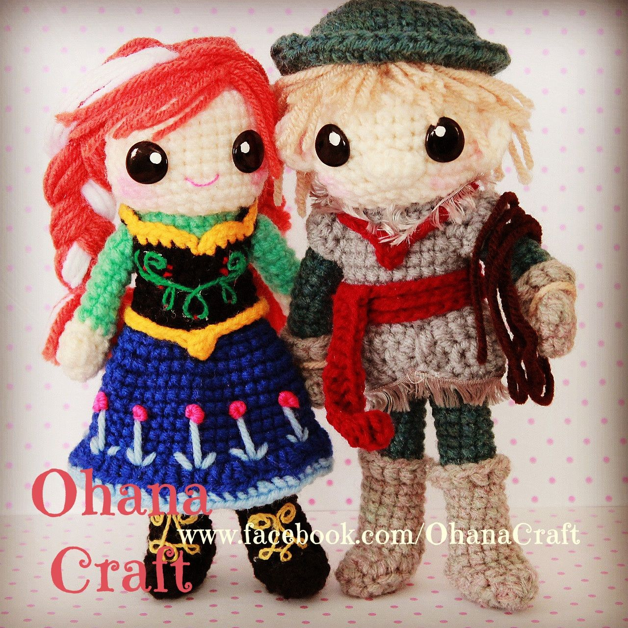 Crochet Frozen dolls and patterns ---- Princess Anna and Kristoff https://www.facebook.com/OhanaCraft