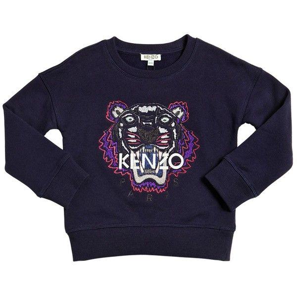 b904408bfefc Kenzo Kids Kids-girls Embroidered Tiger Cotton Sweatshirt (1.050 NOK) ❤  liked on Polyvore featuring dark blue