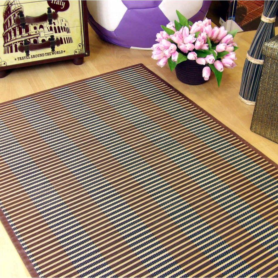 alfombra de bamb con hilo trenzado en colores combinados