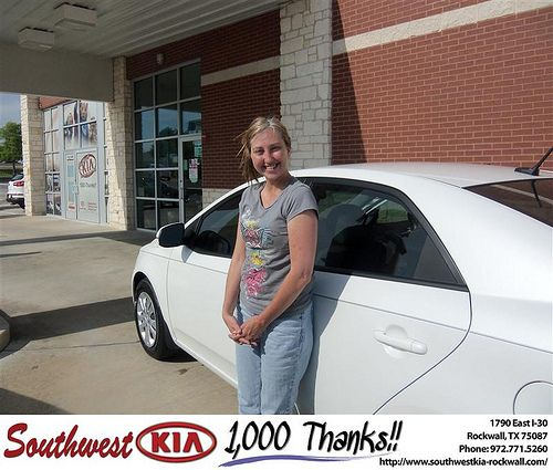 Southwest KIA of Rockwall would like to say Congratulations to Johnny Day on the 2013 Kia Forte from Steven Kravetz