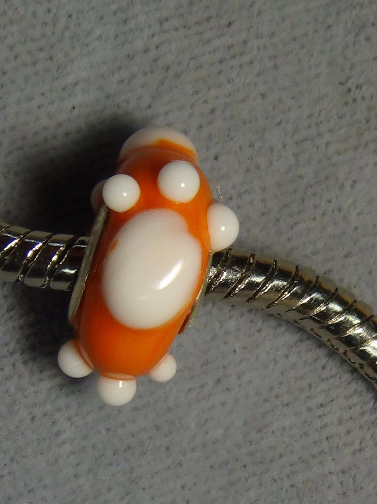 Clemson Tigers European charm bead orange white paws glass big hole 1513 #Handmade #European