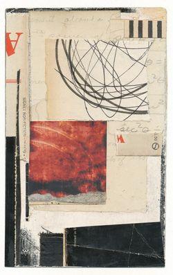 Tiefgang: quadrato rosso dai libri melindatidwell, ha trovato le carte, inchiostro, colla su carta