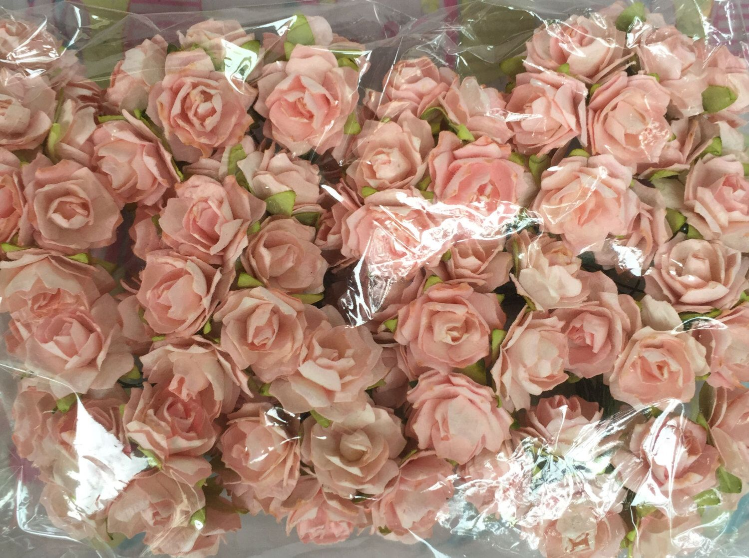 100 Light Pink Mulberry Roses Paper Flowers Size 25 Cm 1 Inch