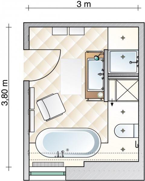 3,9qm-wannenbad-zu-duschbad | Bad Grundriss | Pinterest ... | {Grundriss badezimmer mit begehbarer dusche 5}
