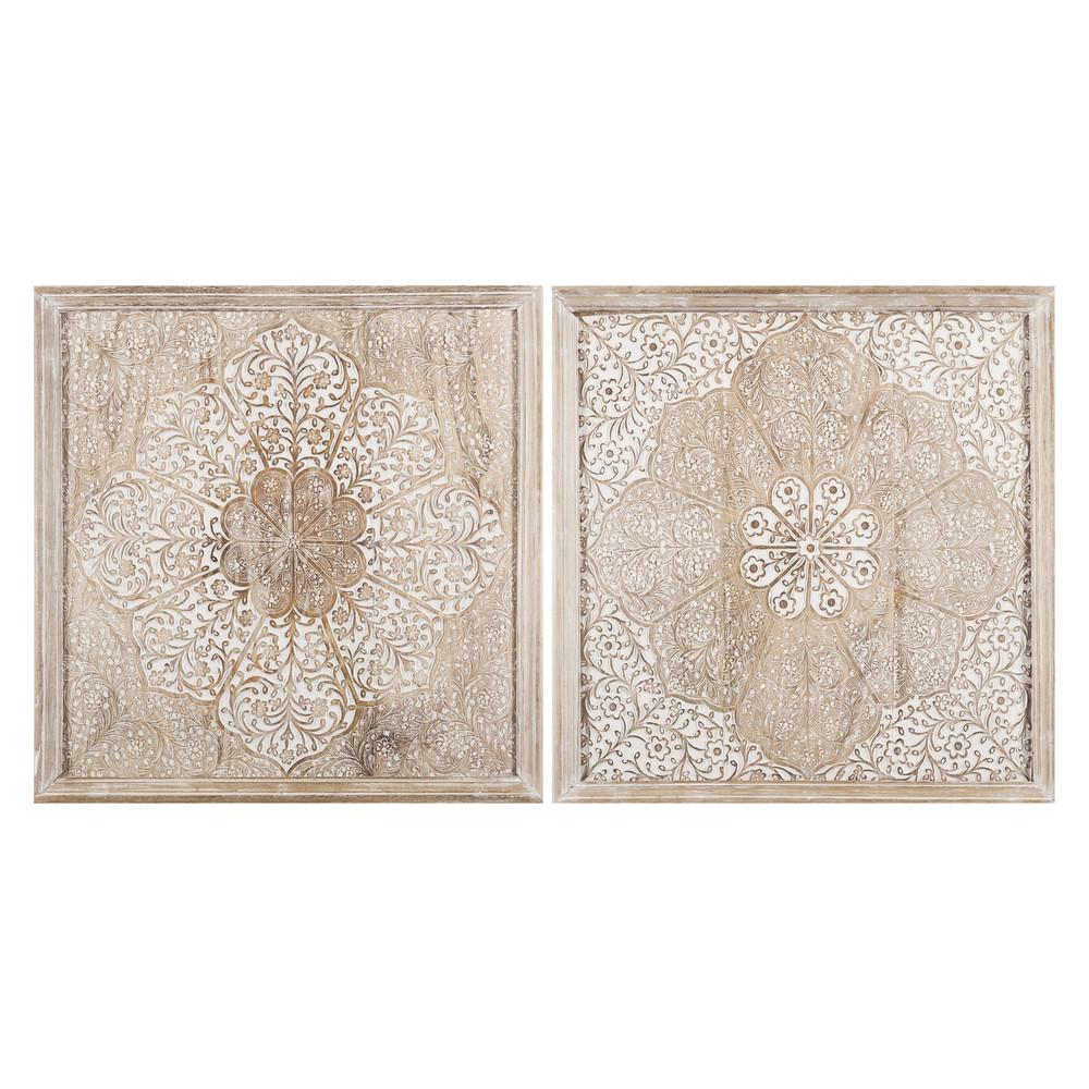 2 Cadres En Manguier Sculpte Et Blanchi 60x60cm Maisons Du Monde Idee Deco Orientale Deco Murale Maison Du Monde