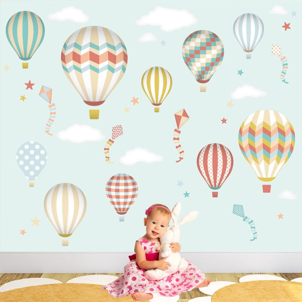 Deluxe Hot Air Balloons & Kites Neutral Luxury Wall Stickers