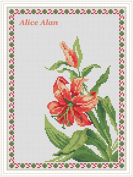 Cross Stitch Pattern Flower Red Lily In Frame Floral Arrangement Designed By Me So You Have A Cross Stitch Patterns Flowers Cross Stitch Cross Stitch Patterns