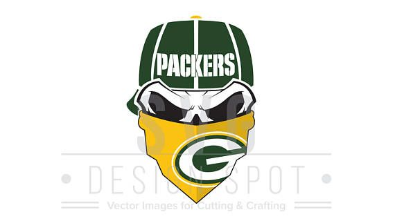 Green Bay Packers Skull Svg Wall Art For Cricut Silhouette