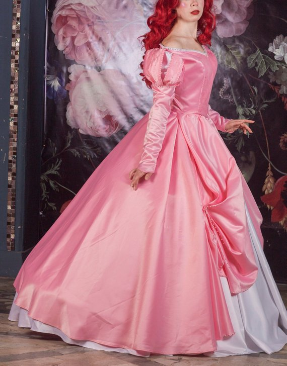 Ariel Pink Dress Inspired By The Little Mermaid Cosplay Etsy Ariel Pink Dress Princess Ball Gowns Pink Dress