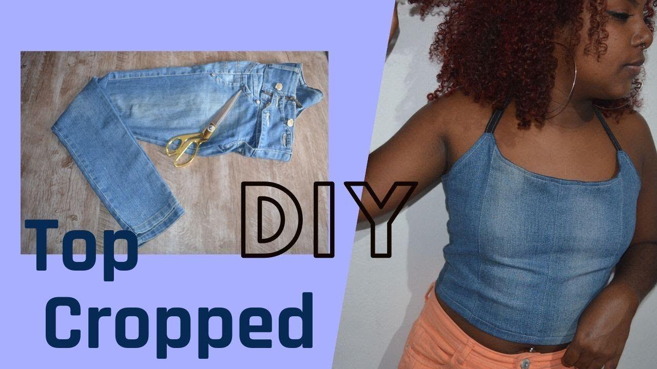 DIY - Top Cropped - Ideias Criativas com #jeans #Upcycling