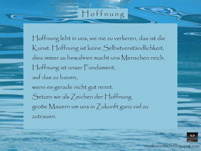Hoffnung Gedicht Von Nicole Sunitsch Gedichte Hoffnung