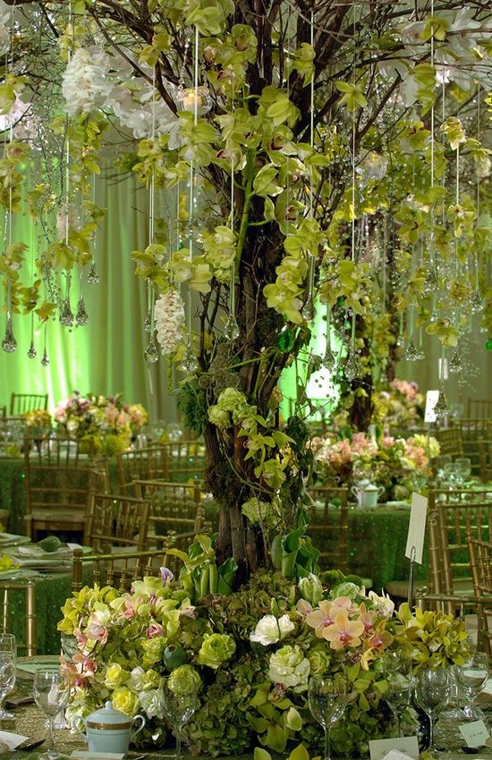 Large Tree Centerpiece I Think This Is Really Pretty In Terms Of Colors Floral And Natural Elements Green Centerpieces Preston Bailey Wedding Centerpieces