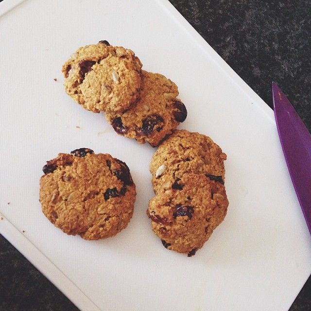 VEGAN oatmeal cookies // 3/4 cup dry rolled oats,1/4 tsp baking powder,2 tbsp stevia or agave syrup,2 tbsp craisins,1 tbsp coconut oil and 2 tbsp non dairy milk. Bake at 350F/180C for 15-20 mins