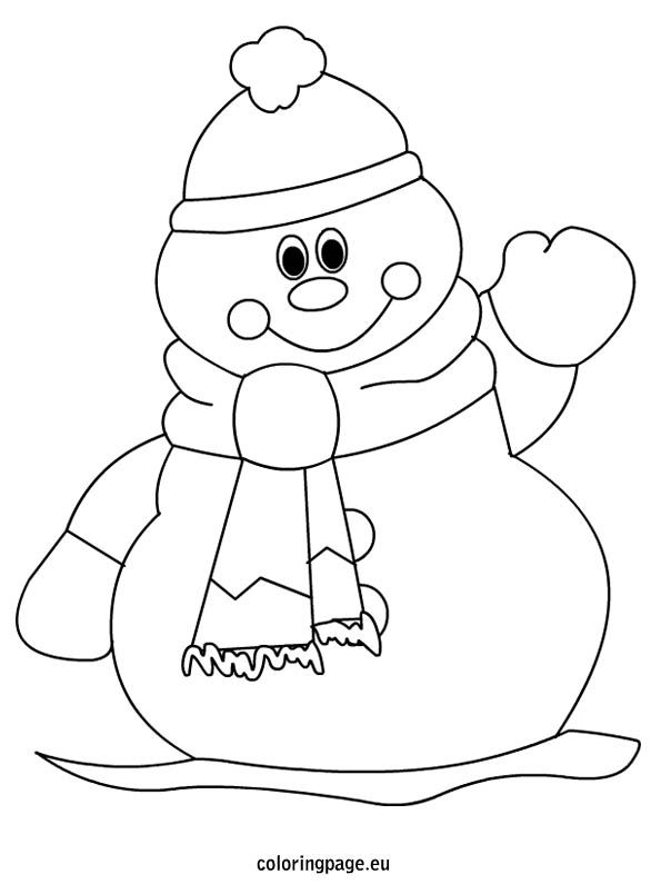 Winter Snowman Coloring Page For Kids Christmas Coloring