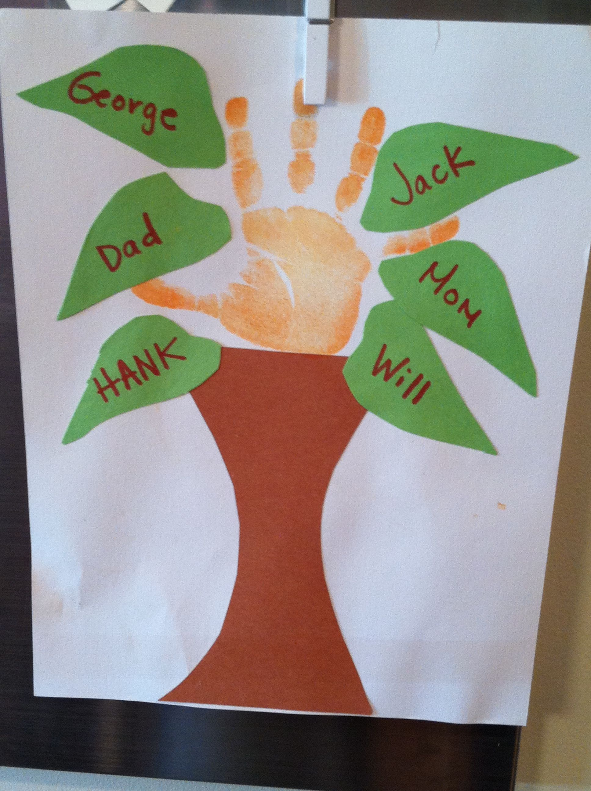 Family tree handprint art preschool project for the for Art craft for preschool