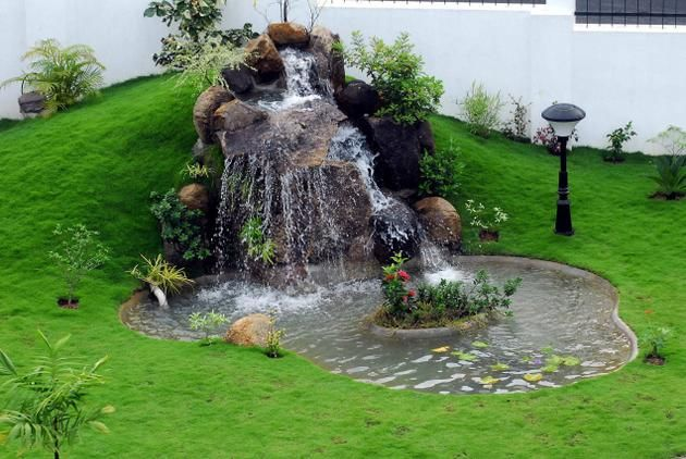water garden with a gorgeous waterfall