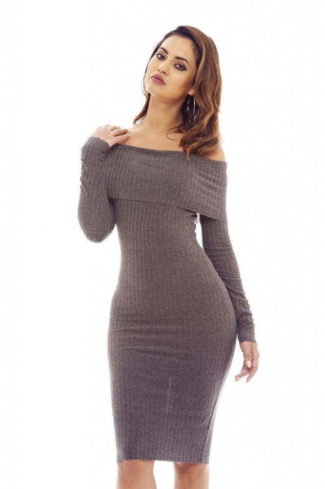 d95e7b2f2a77 AX Paris Womens Knitted Off Shoulder Bodycon Dress Glamorous Stylish Fashion