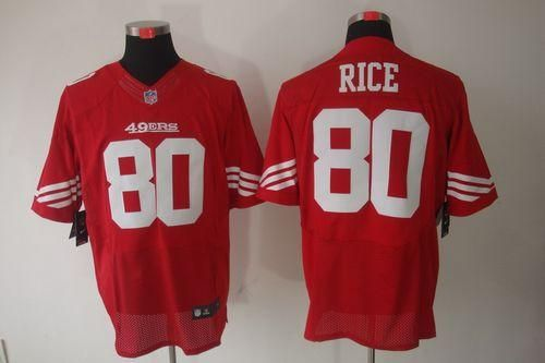Nike 49ers #80 Jerry Rice Red Team Color Men's Embroidered NFL Elite  Jersey!$25.00