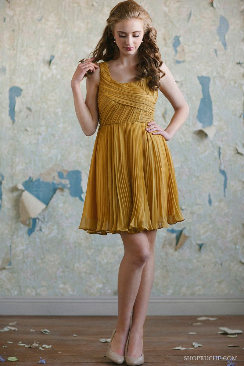 Golden yellow pleated bridesmaids dresses from the ruche bridal golden yellow pleated bridesmaids dresses from the ruche bridal collection at shopruche ombrellifo Images