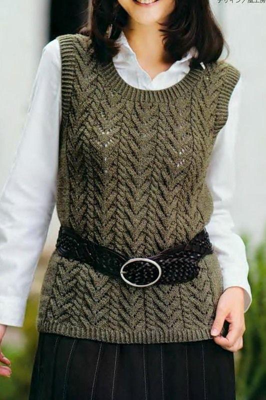 Sleeveless Vest Free Knitting Graph Pattern Knitting Womens Tops