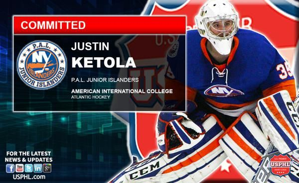 Pal Islanders Goaltender Justin Ketola Makes Ncaa Di Commitment Ncaa College Hockey Pals