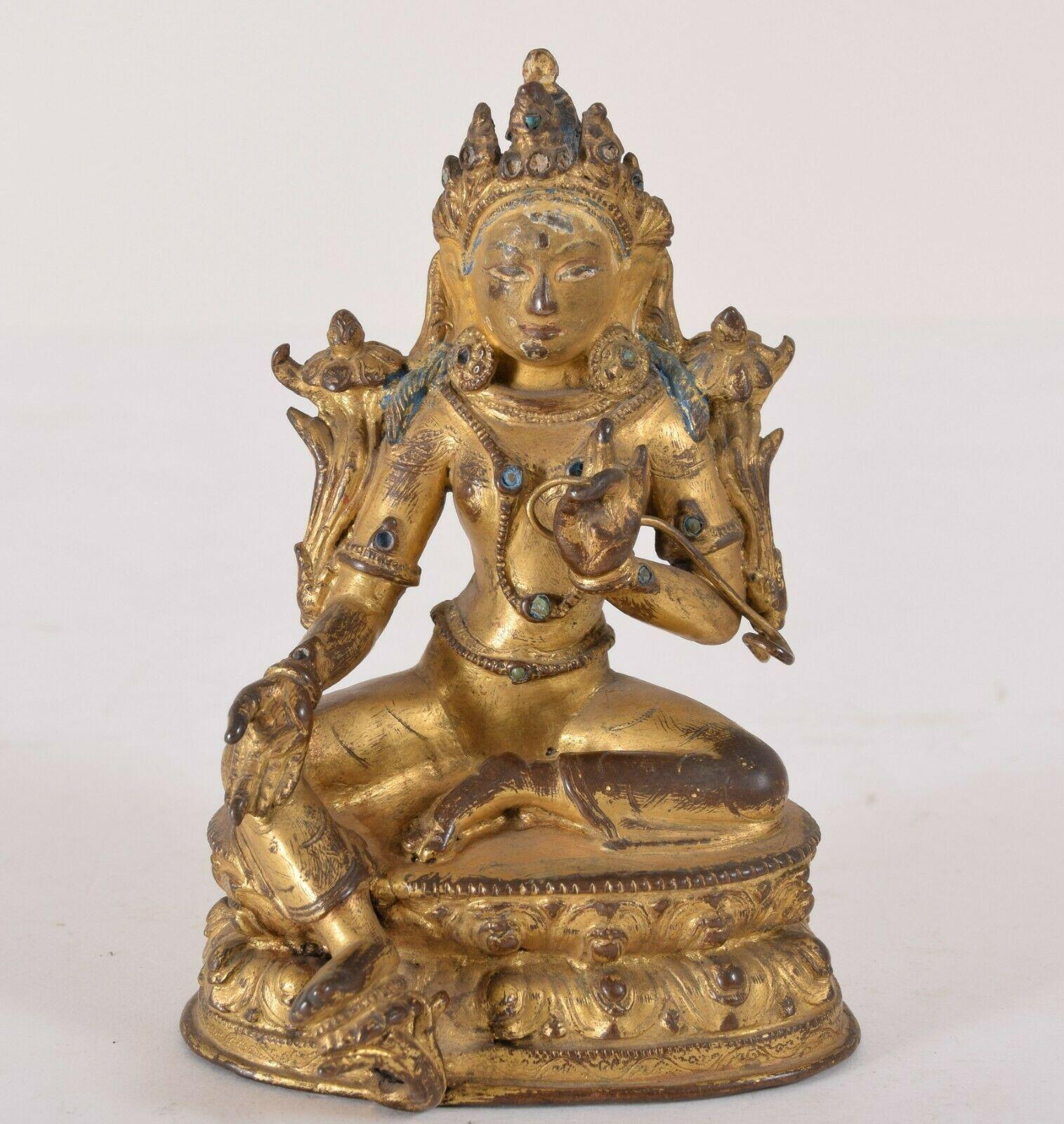Gilt bronze jeweled seated buddha avalokiteshvara chinese