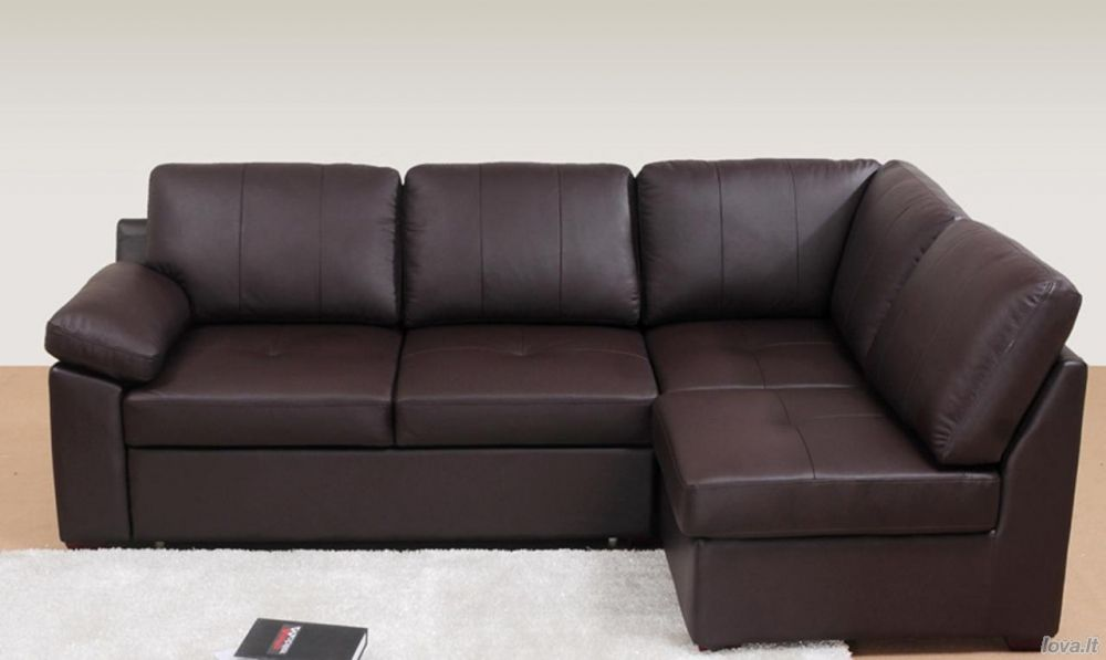 Baldai Svetainės Baldai Kampai Odinis Kampas Florida 44093 Leather Corner Sofa Sofa Bed Brown Corner Sofa