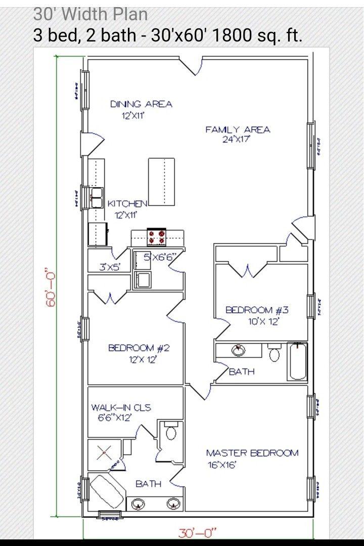 30x60 Floor Plan Barndominium Floor Plans Barn Homes Floor Plans Pole Barn House Plans
